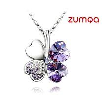 4 leaf Shaped clover Necklace By ZUMQA (Silver Dark Purple)