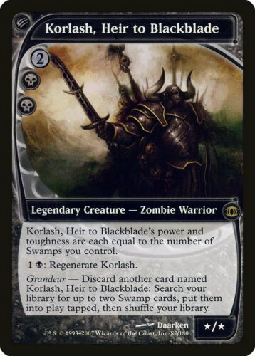 Korlash Heir to Blackblade Future Sight NM Black Rare MAGIC MTG CARD ABUGames