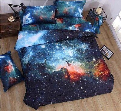 3D Galaxy Bedding Pillowcase Quilt Duvet Cover Set Single Queen Or Flat Sheet A5
