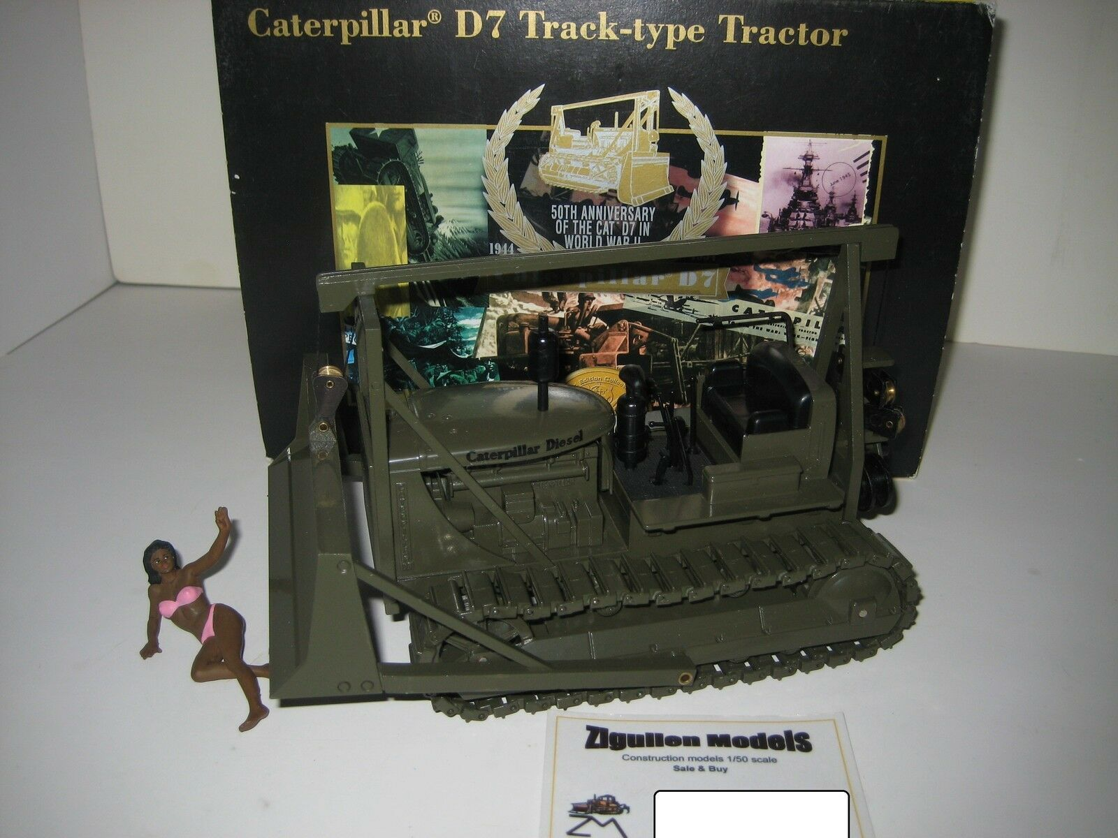 CATERPILLAR D 7 PLANIERRAUPE MILITARY MILITARY MILITARY NZG 1 25 OVP LIMITED 15121a