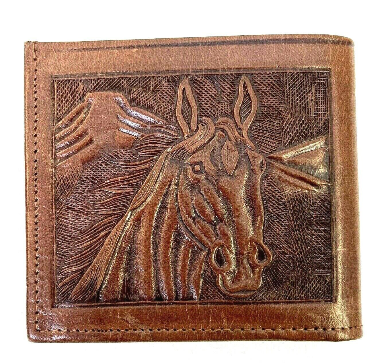 Western Tooled Leather Mexican Bifold Wallet Cowboy Boots Horse Holster Brown