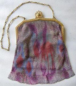 Antique Art Nouveau Deco Gold T Fuchsia Blue DRESDEN Enamel Micro Mesh Purse W&D