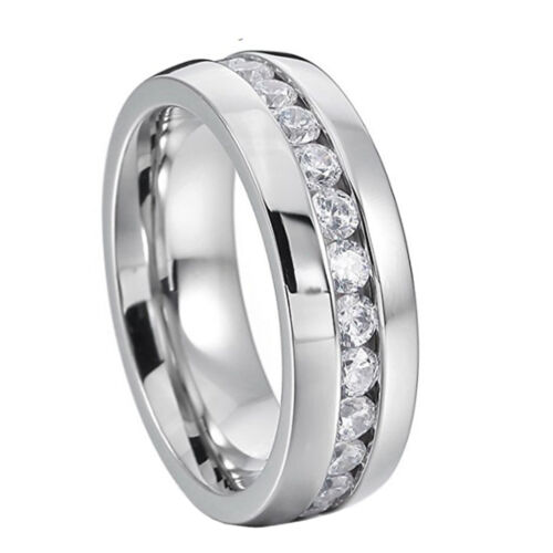 8mm Stainless Steel Men/'s Ring Band Eternity Wedding Jewelry Silver Size 9-13