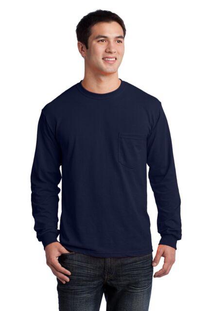 Small Navy Blue Gildan Cotton Long Sleeve T-shirt