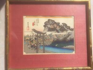 "7 3/8"" x 5 1/2"" image. Japan Japanese Woodblock Wood Block Print Hiroshige"