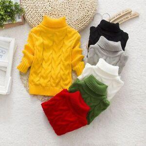 933d079d286a Kids Baby Boys Girls Warm Winter Choker Tops Thick Wool Sweater ...