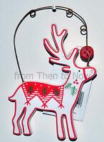 Gisela Graham Wooden Reindeer Hanging Xmas Tree Decoration Chic Shabby Christmas