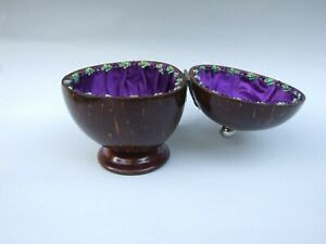 ANTIQUE-VICTORIAN-CARVED-COCONUT-SHELL-PURPLE-CLOTH-LINED-RARE-C1900-039-s