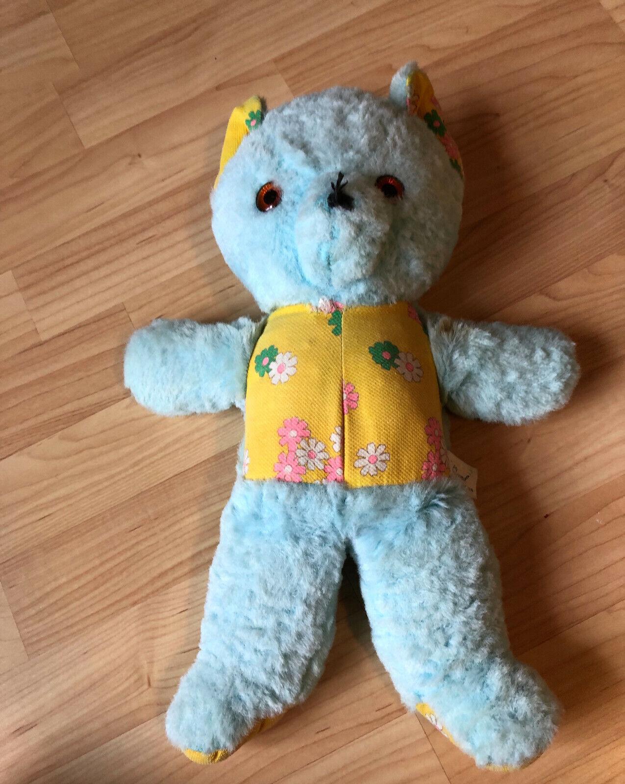 """VTG GUND Creation Made IN USA USA RARE Daisy Yellow bluee Plush Stuffed Bear 14"""""""