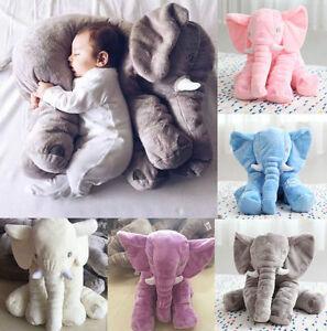 Gross-Kinder-Baby-Elefant-Puppe-Kissen-Pluesch-Stofftier-Kuscheltier-Spielzeug-Neu