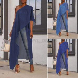 Women-Short-Sleeve-T-Shirt-High-Low-Plus-Size-Tops-Casual-Blouse-Tunic-Tee-Dress