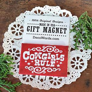 DecoWords-Gift-Magnet-Cowgirls-Rule-Magnet-Western-Horse-Gymkhana-barrel-New