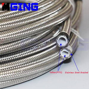 AN6-6AN-Teflon-Braided-Steel-Nylon-PTFE-E85-Ethanol-Oil-Line-Fuel-Hose-1-Foot