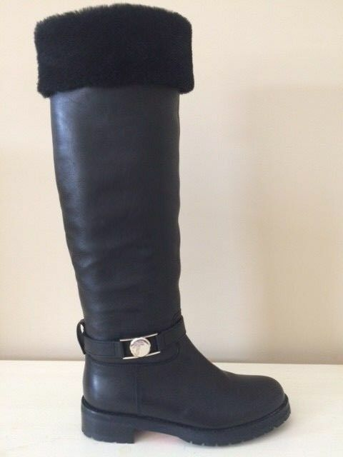 VERSACE COLLECTION CALFSKIN SHEARLING SIZE 37 BLACK BOOTS