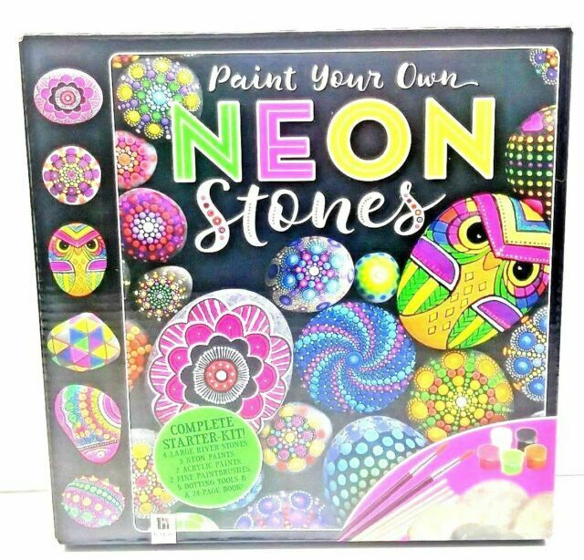 Perfect Present Creative Kit Neon Stone Rock Painting Crafts hinkler Arts