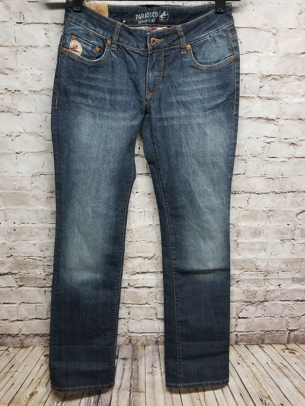 Parasuco Denim Cult dark bluee Jean pants Womens distressed size 28 rare vintage