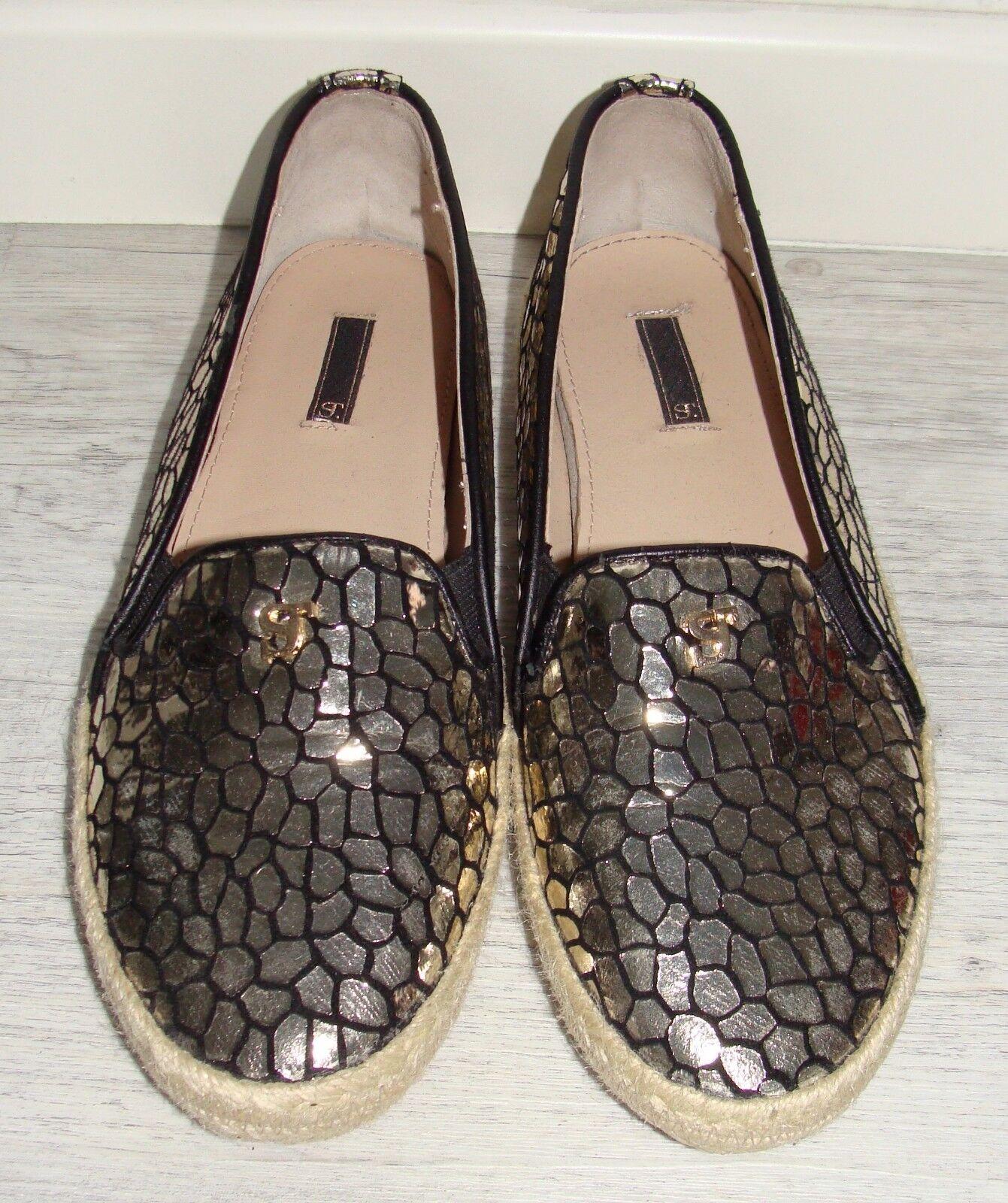 STUDIO Schuhe gold Größe 38 Espandrilles schwarz gold Schuhe Trend m&h top Blogger edel 478862