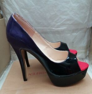 ce344f8082380 Details about Loslandifen Peep Toe Platform High Heel Shoes -Patent Purple  & Black -EU 41/UK 7