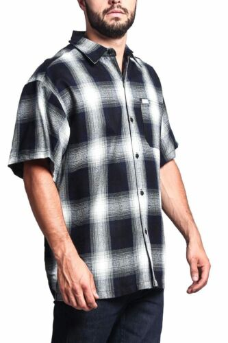 Men/'s Western Casual Old School Plaid Flannel Short Sleeve Button Shirt   Y2000S