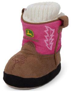 sports shoes 12cfd 91eec Details zu Neu John Deere Kleinkind und Pink Stiefel Hausschuhe Größen 6/12  M, 3/4