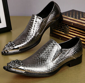 new fashion mens gold silver leather metal pointy toe