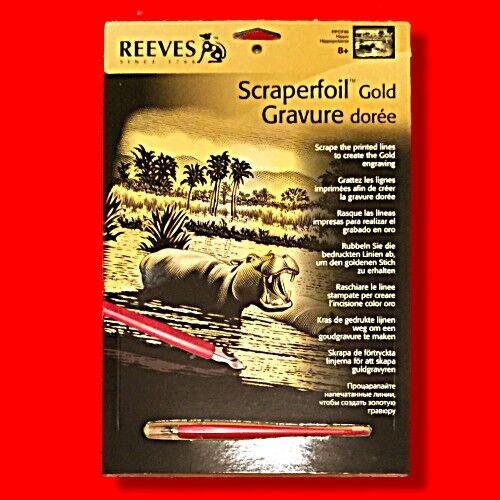 A4 HIPPO SCRAPERFOIL GOLD FOIL ENGRAVING ART SCRAPER REEVES FULL SIZE