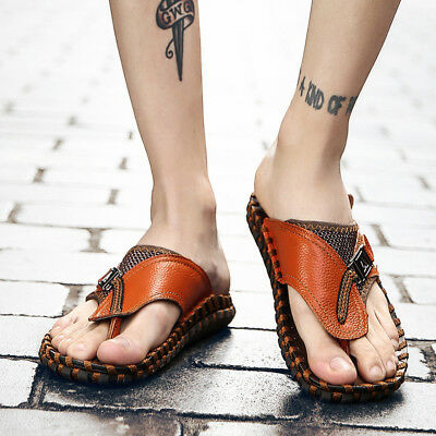 Men's Flip Flops Genuine Leather Slippers <b>Men Summer Fashion</b> ...