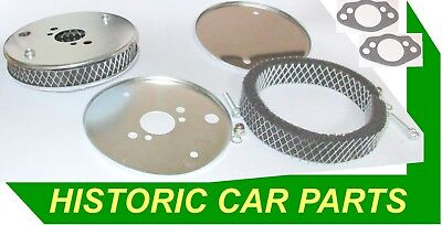 """Washable Narrow Air Filters Stainless Steel outer for 1¼ """"SU HS2 Carbs//Gaskets"""