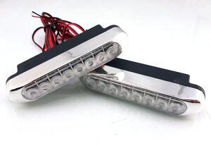 DRL-Daytime-Running-Lights-HIGH-POWER-8-LED-Day-Fog-Lamps-10cm-Long-2pcs-Kit
