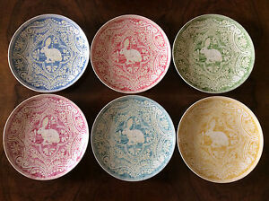 New Pottery Barn Graphic Easter Bunny Salad Plates 6