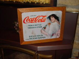 COKE COLA CUSTOM CEDAR FRAMED VINTAGE RETRO TIN DRINKING LADY BAR SIGN