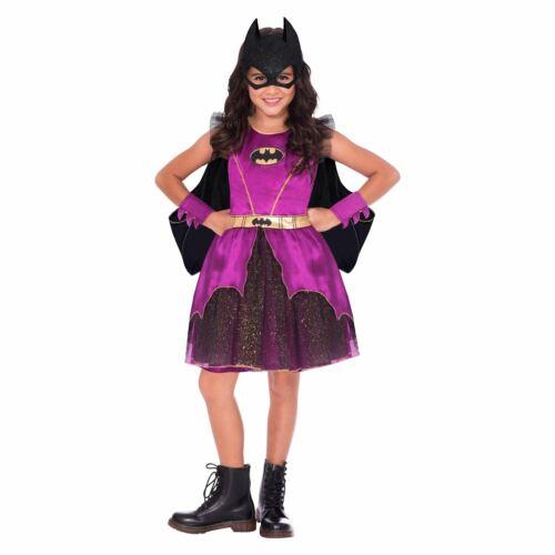 Girls Purple Batgirl Fancy Dress Batman Comic Book Superhero Kids Childs Costume