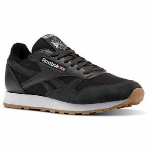 Reebok-Homme-En-Cuir-Classique-estl-Baskets-Baskets-Chaussures-Noir-Gris-Confortable-Neuf