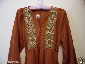 Retro-Genuine-1970s-Vintage-MAXI-DRESS-brown-back-waist-tie-long-sleeve-size-12