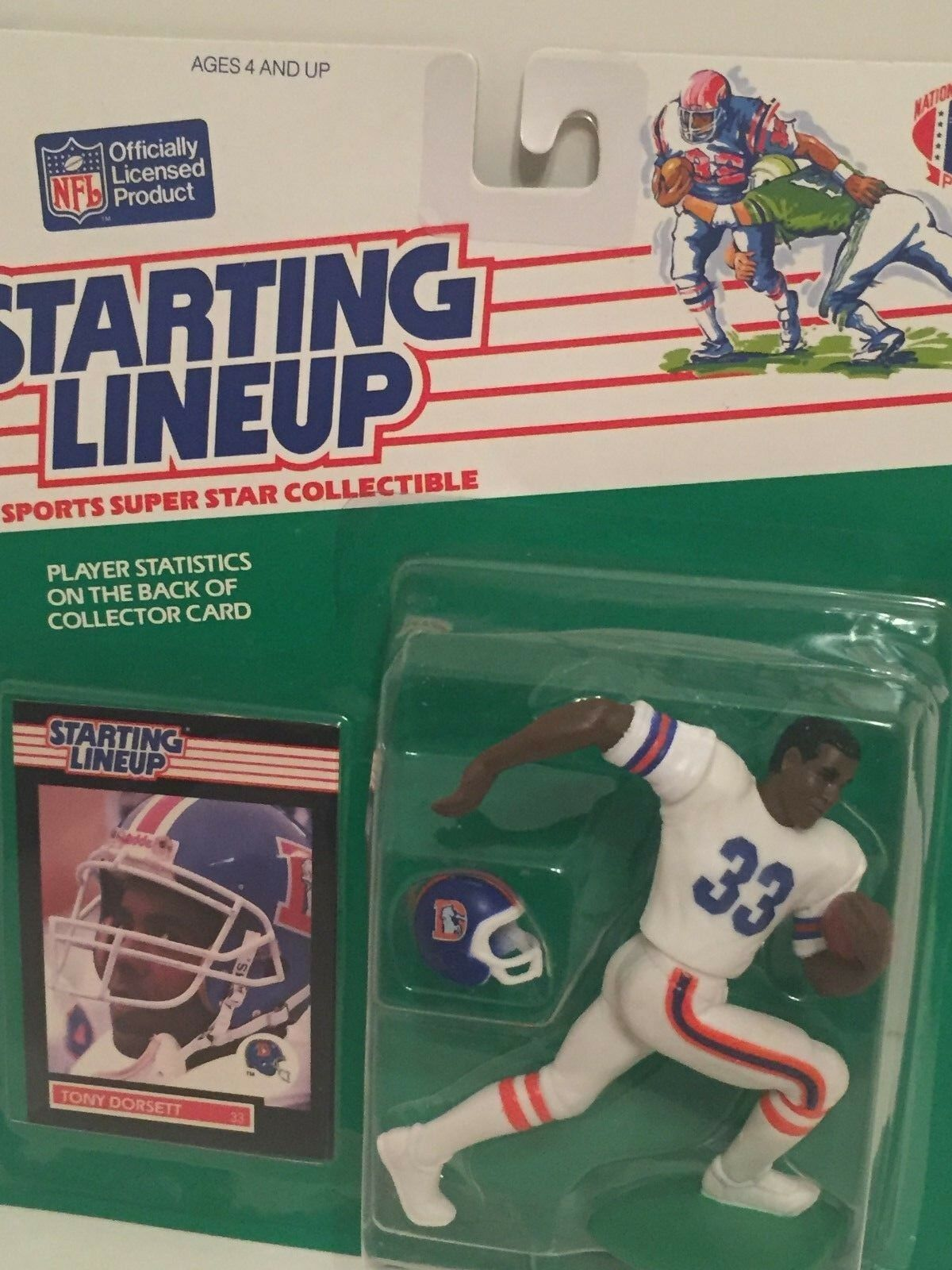 1989 Starting lineup Tony Dorsett figure Card Denver Broncos toy Cowboys Pitt