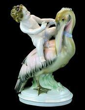 """""""Auf Pelikan reitender Putto"""" - Sammler Porzellanfigur - Anton Porzelius um 1890"""