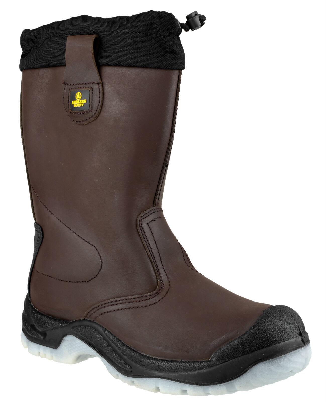 Amblers FS219 Rigger Sicurezza Da Uomo Marrone Da Infilare Punta In Acciaio Tappo Stivali scarpe uk4-14