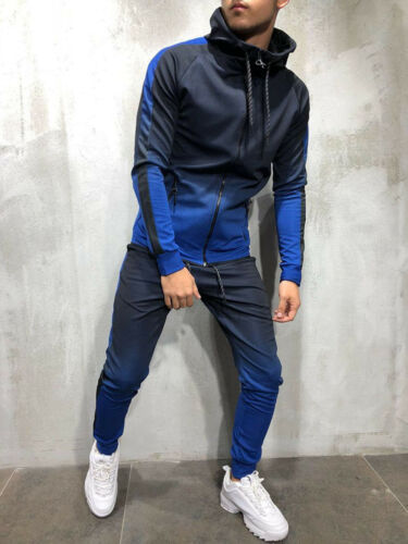 Men Tracksuit Set Hoodie Top /& Bottoms Joggers Gym Plain Zip Pockets Slim Fit