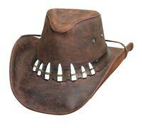 Crocodile Dundee Bullhide Leather Brown Hat With 7 Imitation Gator Teeth Spiffy