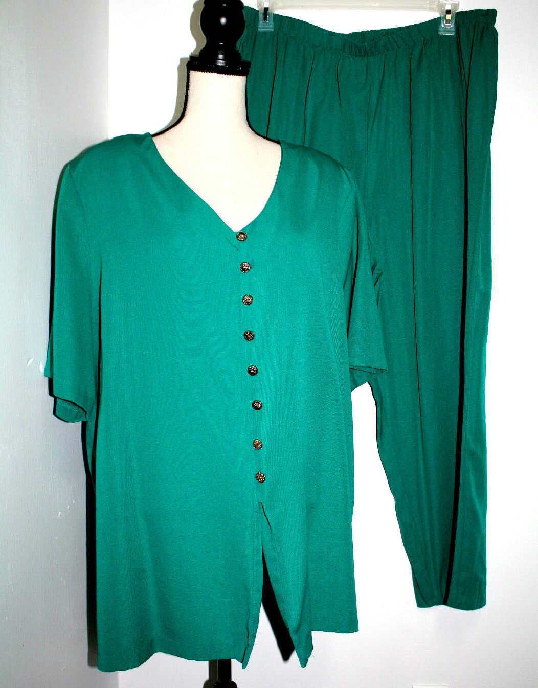 Vintage Karibo Womens 24W Blouse & Pants Set Green Button Front Elastic Waist