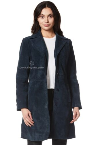 Coat Navy Real Ladies 20 And Length 8 Soft Knee Suede Size Leather 3457 wtFfZ5