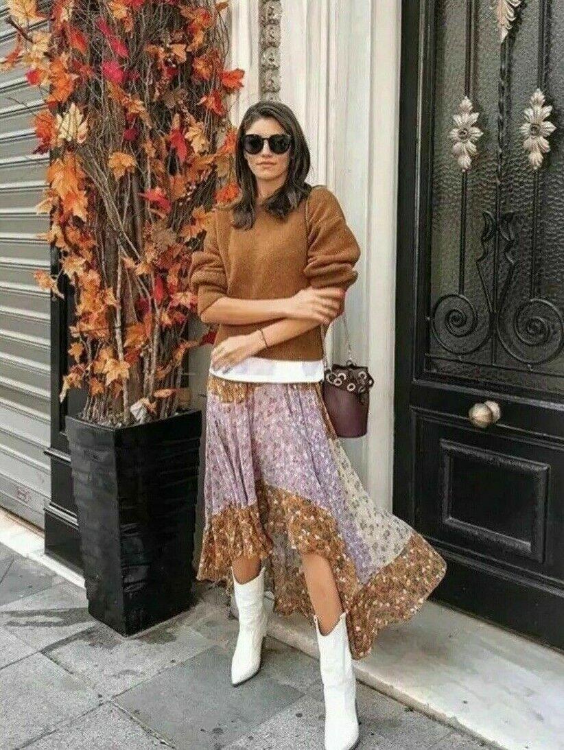 NWT_ZARA Zara Floral Patchwork Print Scarf Skirt Maxi Long orange Asymmetric_S,M