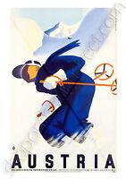 GICLEE A2 ART PRINT/POSTER VINTAGE/ART DECO TRAVEL WINTER AUSTRIA SKI 255GSM