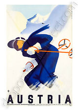 GICLEE A4 ART PRINT/POSTER VINTAGE/ART DECO TRAVEL WINTER AUSTRIA SKI 255GSM
