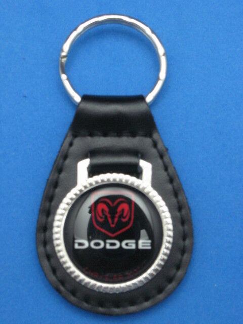 DODGE AUTO LEATHER KEYCHAIN KEY CHAIN RING FOB #017 BLACK