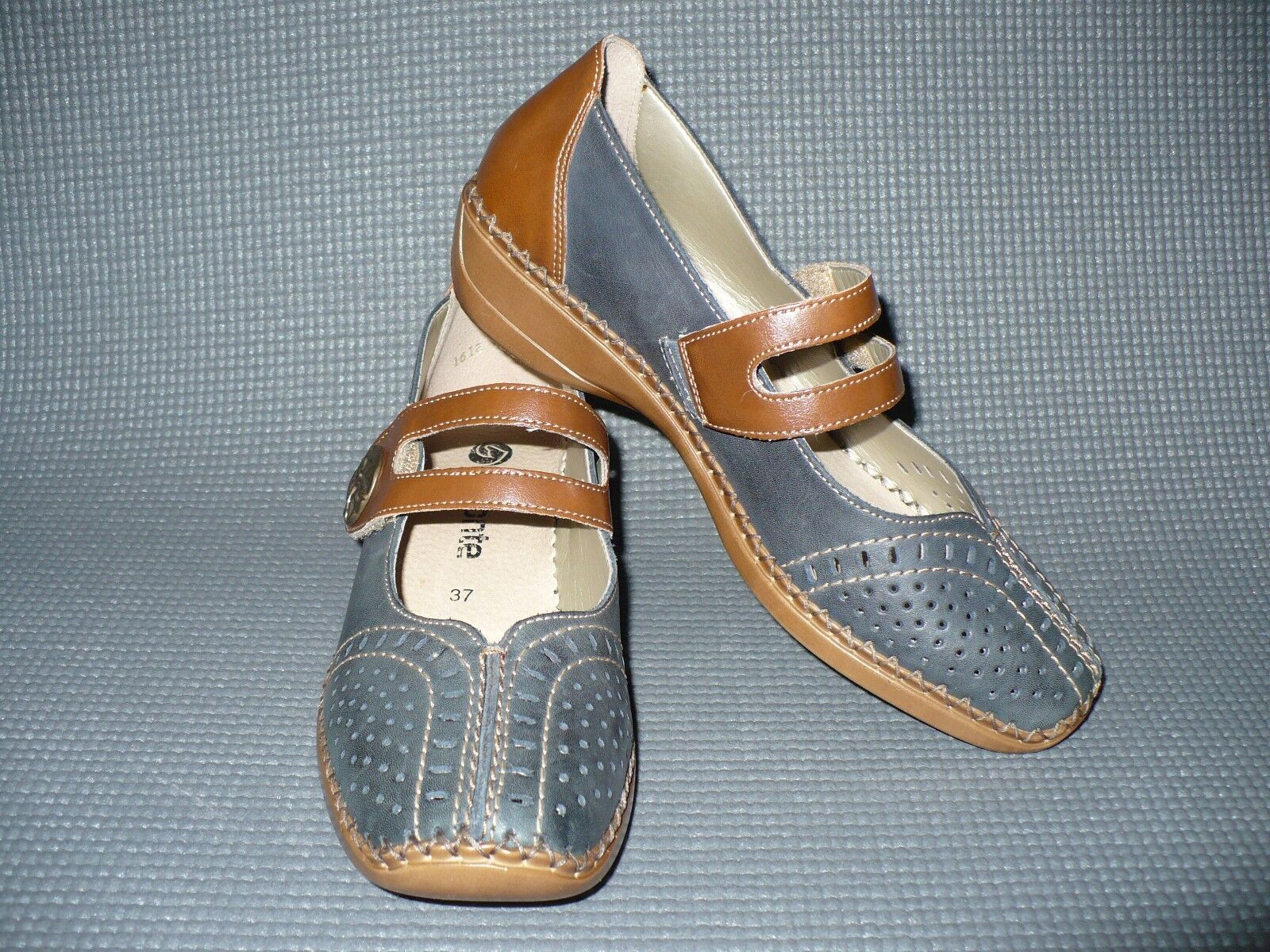 REMONTE shoes size 37 EU NEW 6 - 6.5 US Mary Jane Denim bluee Brown