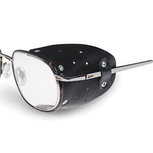 Seitenschutz-fuer-Brillen-aus-Leder-1Paar-Schwarz-Brille-Sonnenbrille-Neu