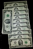 *RARE* NEW Uncirculated Consecutive Two Dollar Bill Crisp $2 Note 1976 - 2013