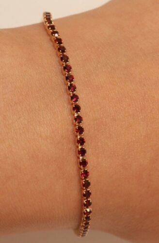 14K Or Jaune Finition Tennis Bracelet Rouge Rond Diamants 2 ct pour femmes