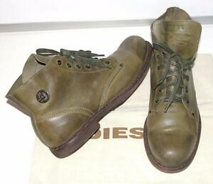 DIESEL~$240.00~DISTRESSED MILITARY GREEN *TATRA ORIGINAL* LEATHER BOOTS SHOES~12